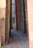 Narrow street of medieval town, Cheb - Czech Republic Stock Photos