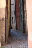 Narrow street of medieval town, Cheb - Czech Republic Stock Photos
