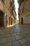 Narrow street of the medieval town, Croatia, Porec Stock Images