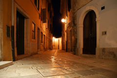 Narrow street of the medieval town, Croatia, Porec Stock Photo