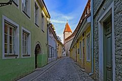 A narrow street in medieval town. A narrow street in old town of Tallinn, Estonia Stock Images