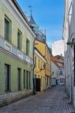 A narrow street in medieval town. A narrow street in old town of Tallinn, Estonia Stock Photos