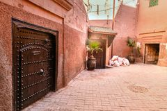 On the street in medina. Marrakesh. Morocco. On the narrow street in medina at Marrakesh. Morocco Royalty Free Stock Images