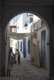Narrow street in the medina, Tunis royalty free stock photography