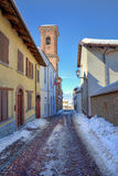 Narrow street. Montelupo Albese, Italy. Royalty Free Stock Photos