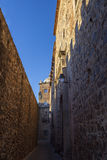 Narrow street at monumental complex of Caceres. Historic quarter. Spain, Extremadura Royalty Free Stock Photography
