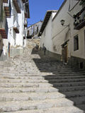 Narrow street Morella. Narrow colorful street with stairs in Morella Spain Royalty Free Stock Photo