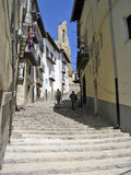 Narrow street Morella. Narrow colorful street with stairs in Morella Spain Royalty Free Stock Photos