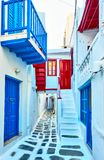 Narrow street in Mykonos Stock Photography