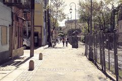 Narrow street near Bombonera stadium in La Boca district, Buenos Aires, Argentina Stock Photos