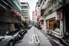 Narrow street near Dongmen, in the Da'an District, of Taipei, Ta. Iwan stock image