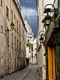 Narrow street near Montmartre, Paris, Fran Stock Photography
