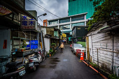 A narrow street near Zhongxiao Fuxing, in Taipei, Taiwan. Royalty Free Stock Photography