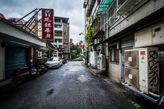 A narrow street near Zhongxiao Fuxing, in Taipei, Taiwan. Stock Photo