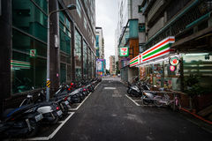 A narrow street near Zhongxiao Fuxing, in Taipei, Taiwan. Royalty Free Stock Images