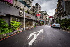 A narrow street near Zhongxiao Fuxing, in Taipei, Taiwan. Stock Photos