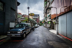 A narrow street near Zhongxiao Fuxing, in Taipei, Taiwan. Royalty Free Stock Image