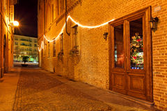 Narrow street night view. Stock Photos