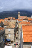 Narrow Street Of Korcula, Croatia - Town On Island Stock Image