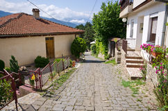 Narrow street in Ohrid town, Macedonia Royalty Free Stock Images