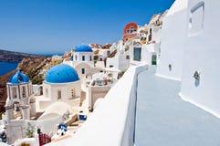 Narrow street in Oia village on Santorini. Greece Stock Images