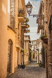 Narrow street and old buildings in Orvieto, Rome. Suburb, Italy stock photo
