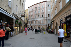 Narrow street and old buildings in Salzburg Royalty Free Stock Photo