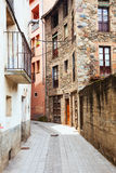 Narrow street of old Catalan town Royalty Free Stock Photos