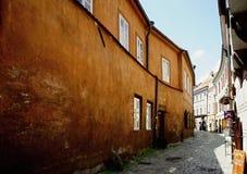 Narrow street in old center of Cesky Krumlov royalty free stock photo