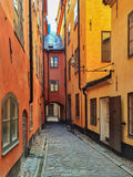 Narrow street in the old center of Stockholm Royalty Free Stock Images