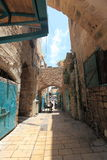 Narrow Street in the Old City of Acre or Akko Stock Photos