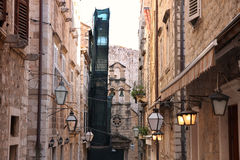 Narrow street in old city Dubrovnik, Croatia Stock Photo