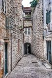 Narrow street in old city Dubrovnik, Croatia Stock Photography