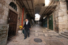 The narrow street in the Old City of Jerusalem. Old Jerusalem is one of most sacred towns in the world stock photography