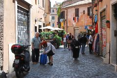 Narrow street in the old city on May 31, 2014, Rome Royalty Free Stock Image