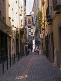 Narrow Street of the old  city of Turin Italy Stock Photos