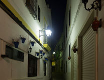 Narrow street  of  old Cordoba in night. Andalusia,   Spain Royalty Free Stock Photos