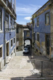 Narrow street in an old European city, Lisbon Stock Photos