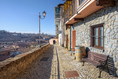 Narrow street and old house. La Morra, Italy. Stock Photography