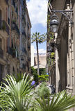Narrow street with old houses. Barcelona. Spain Stock Image