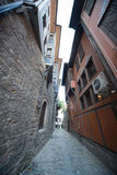 Narrow street in the old Plovdiv in Bulgaria Stock Images