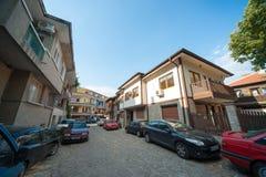 Narrow street of old Pomorie in Bulgaria Royalty Free Stock Image