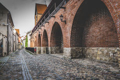 Narrow street in old Riga - capital of Latvia, Europe Stock Images