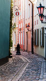 Narrow street in old Riga city, Latvia Royalty Free Stock Image
