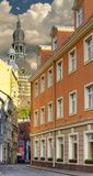 Narrow street in old Riga city, Latvia Stock Photography