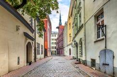 Narrow street in old Riga city, Latvia. stock photos