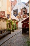 Narrow street in Old Riga Stock Image