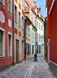 Narrow street in old Riga, Latvia Stock Photo