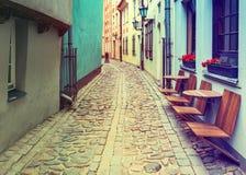 Narrow street in old Riga Latvia, Europe Stock Images