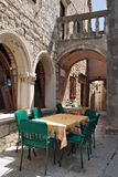 Street cafe in old town Korcula Stock Image